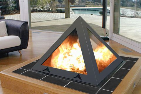 ofen pyramidales feuer. Black Bedroom Furniture Sets. Home Design Ideas